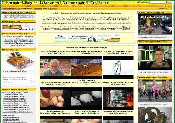 Lebensmittel-Page.de - Portal rund um Lebensmittel, Nahrungsmittel & Ernährung