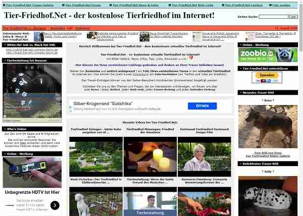 Tier-Friedhof.net - der kostenlose Tierfriedhof im Internet